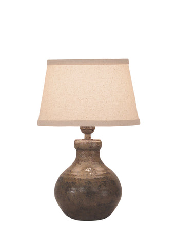 Firebrick Swirl Handled Pottery Table Lamp