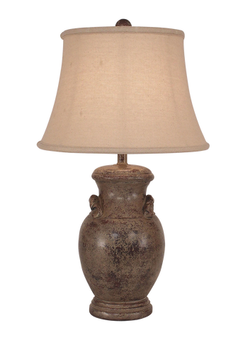 Aged Brick Red Crock Table Lamp w/ Handles