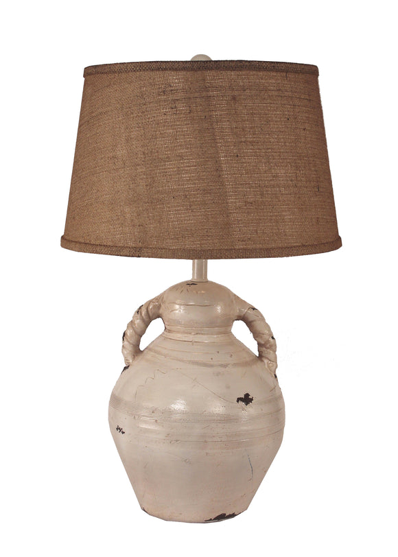 Heavy Distressed Nude Swirl Handled Pottery Table Lamp - Coast Lamp Shop