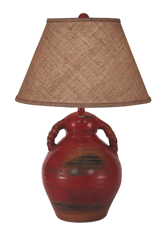 Firebrick Swirl Handled Pottery Table Lamp - Coast Lamp Shop