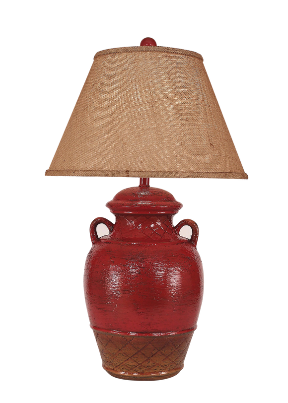 Firebrick Ginger Jar w/ 2 Handles - Coast Lamp Shop