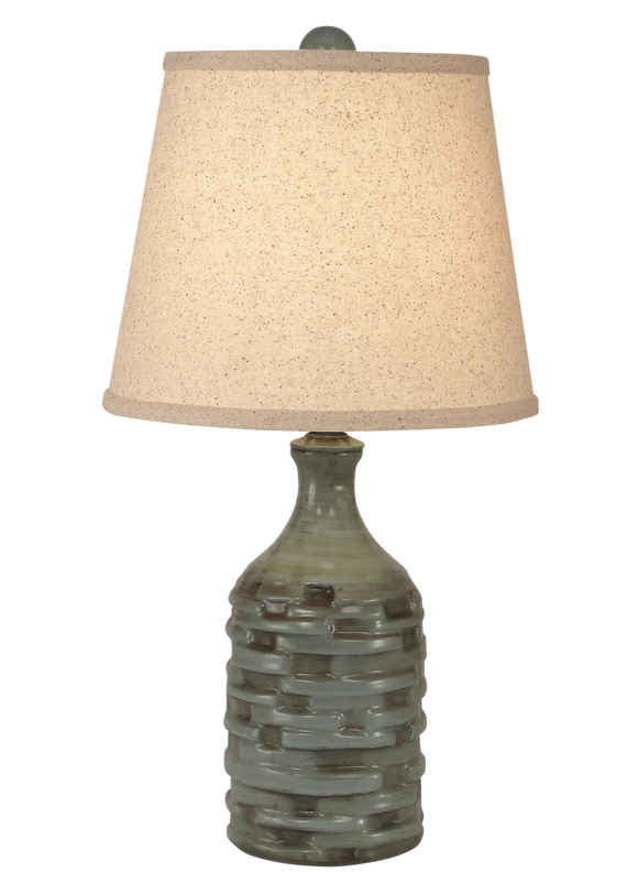 Atlantic Grey Glazed Slender Thatched Accent Lamp - Coast Lamp Shop