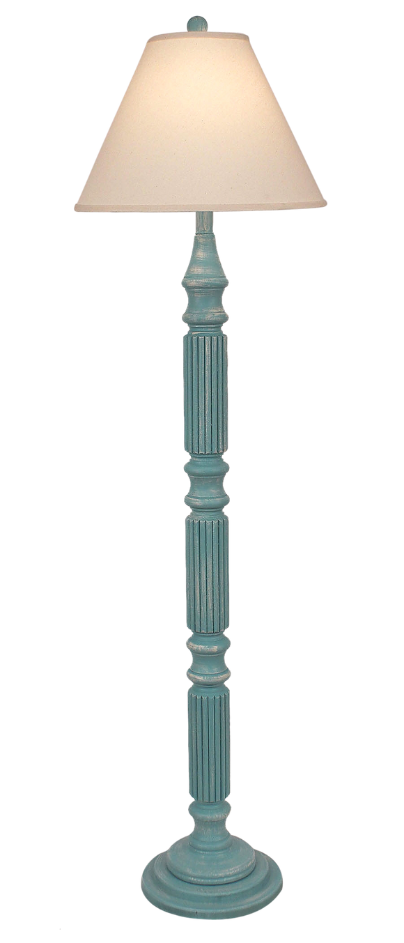 Weathered Turquoise Sea Ribbed Floor Lamp - Coast Lamp Shop