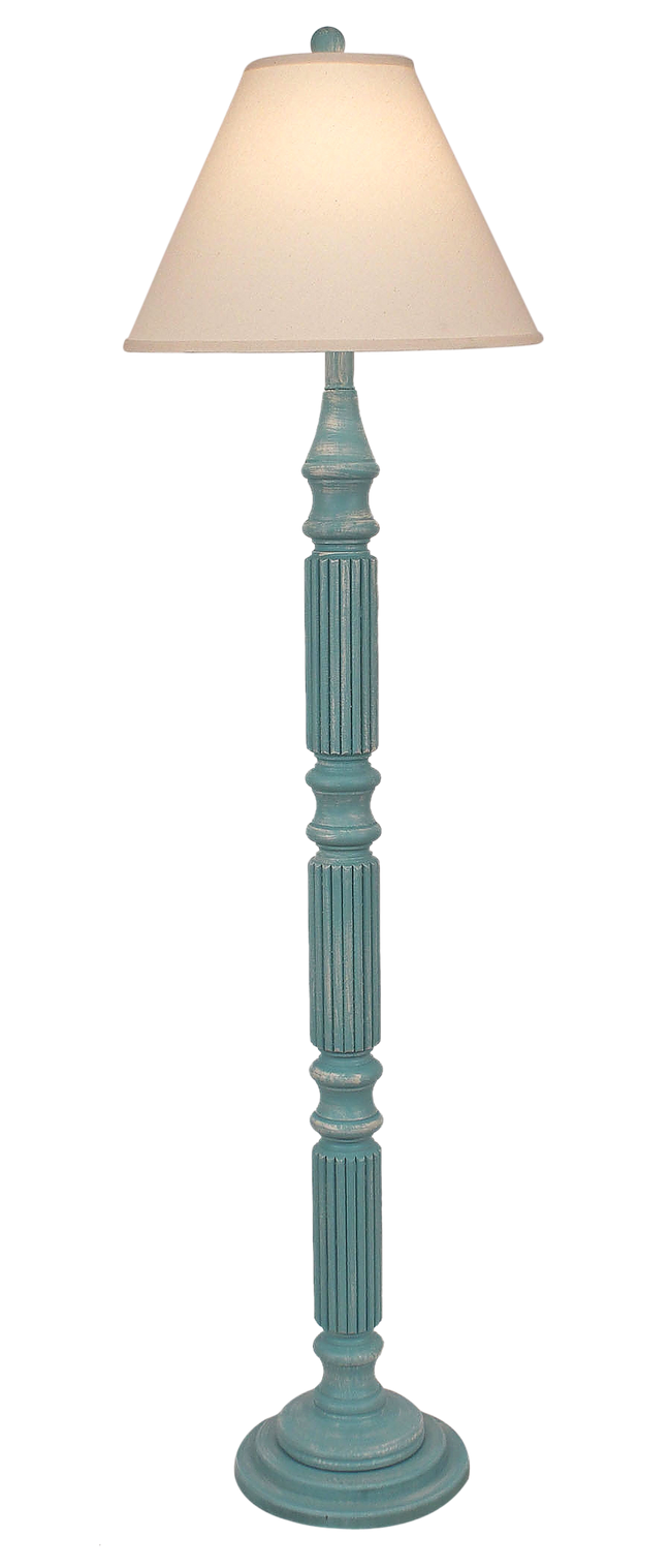 Weathered Turquoise Sea Ribbed Floor Lamp