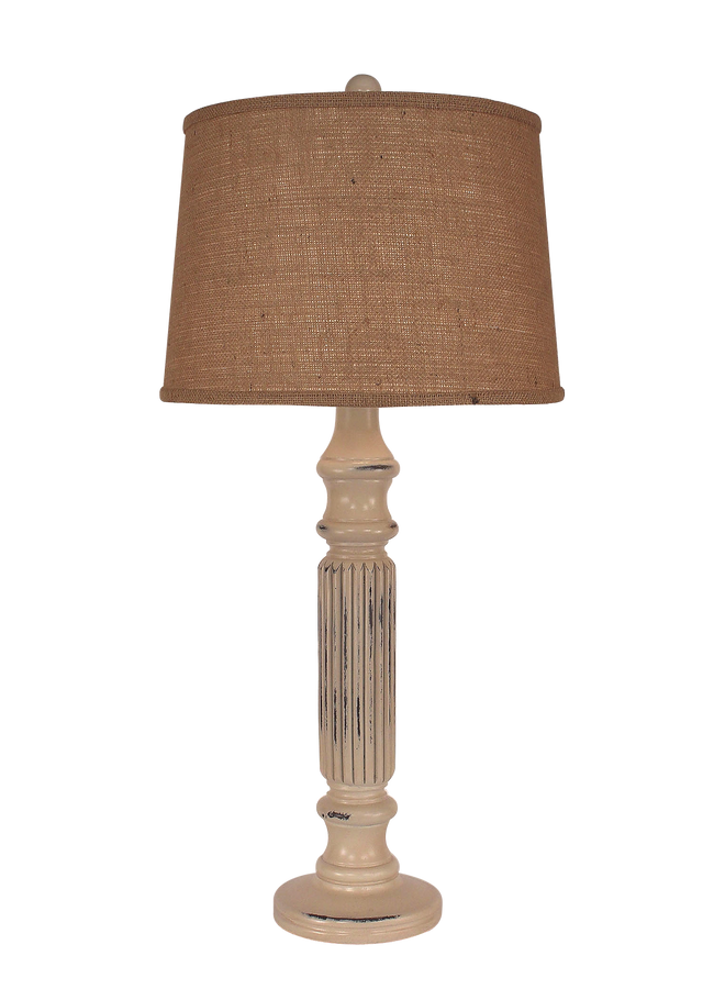 Distressed Cottage Ribbed Table Lamp - Coast Lamp Shop