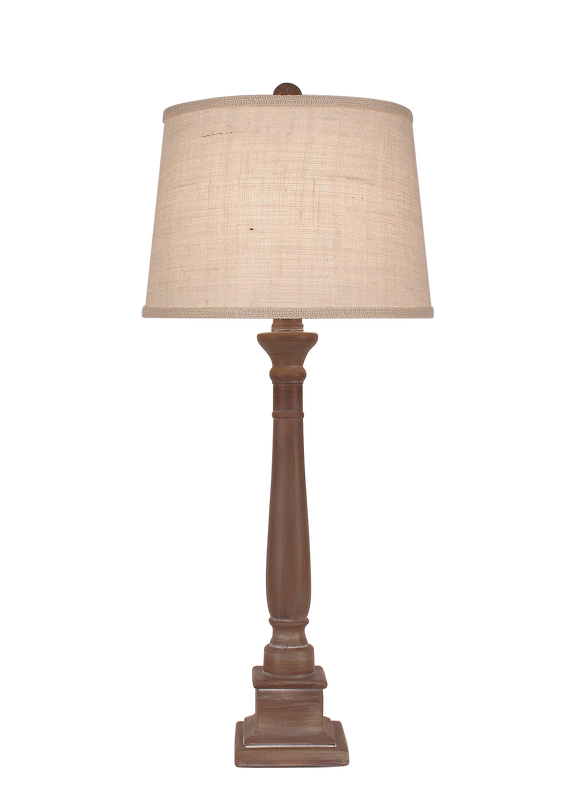 Sandalwood Square Candlestick Table Lamp - Coast Lamp Shop