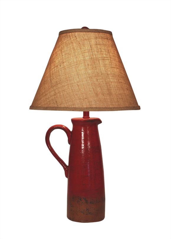 Firebrick Large Handle Pitcher Table Lamp - Coast Lamp Shop