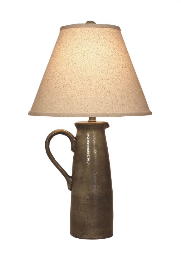 Pale Grey Large Handle Pitcher Table Lamp - Coast Lamp Shop