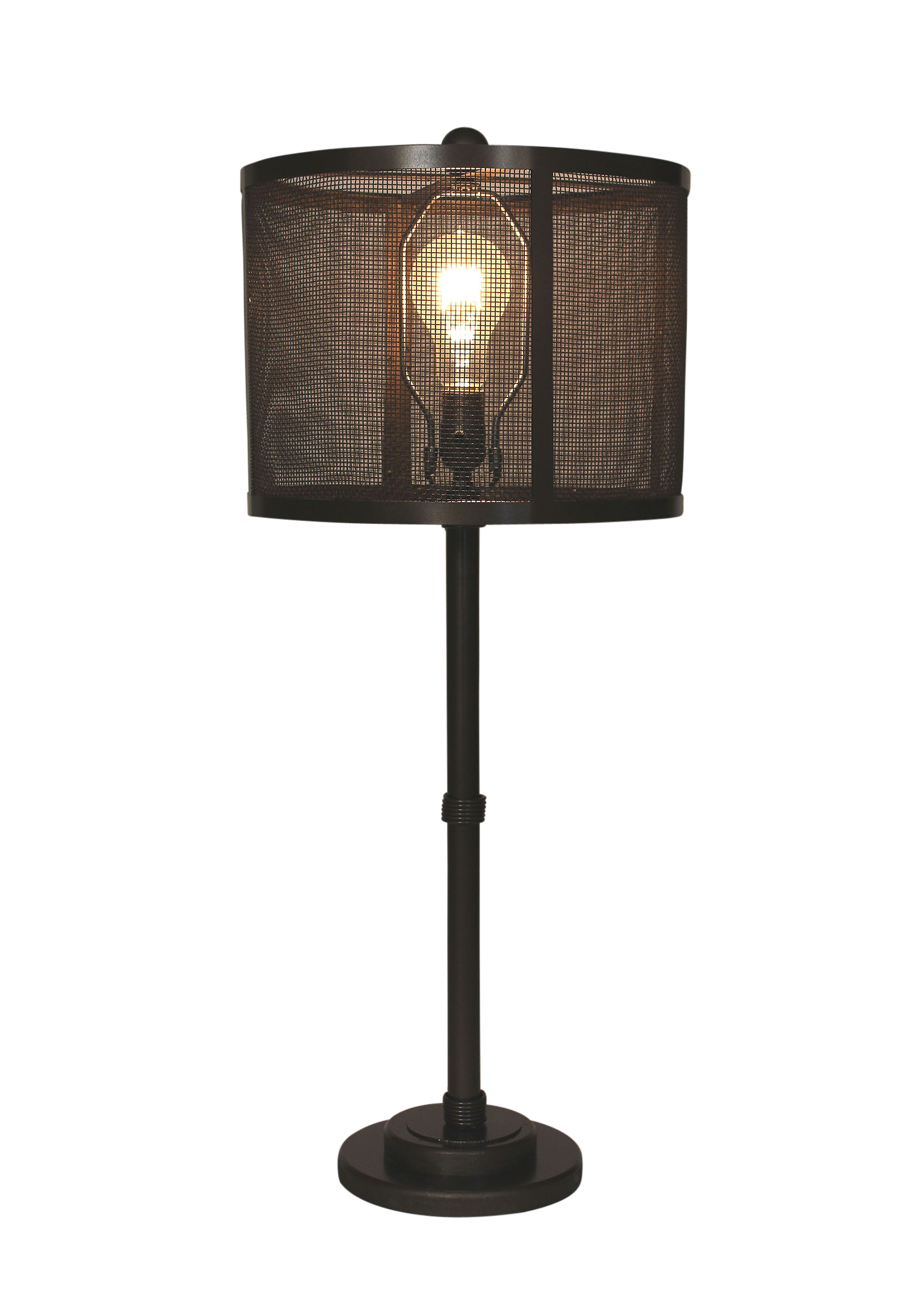Dark Bronze 3-Collar Wire Table Lamp-Metal  Mesh Shade - Coast Lamp Shop