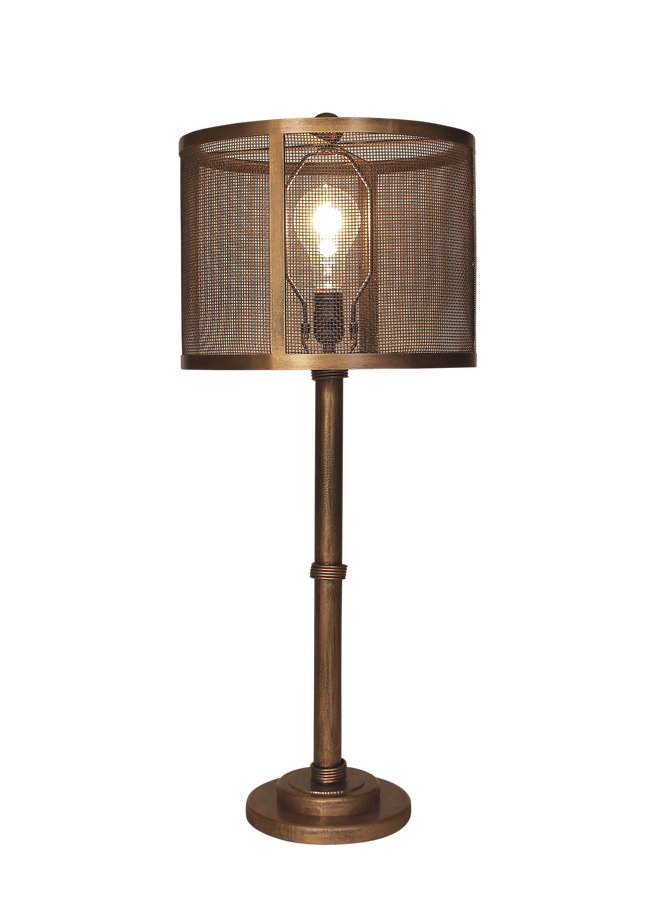 Gold Brushed 3-Collar Wire Table Lamp- Metal Mesh Shade