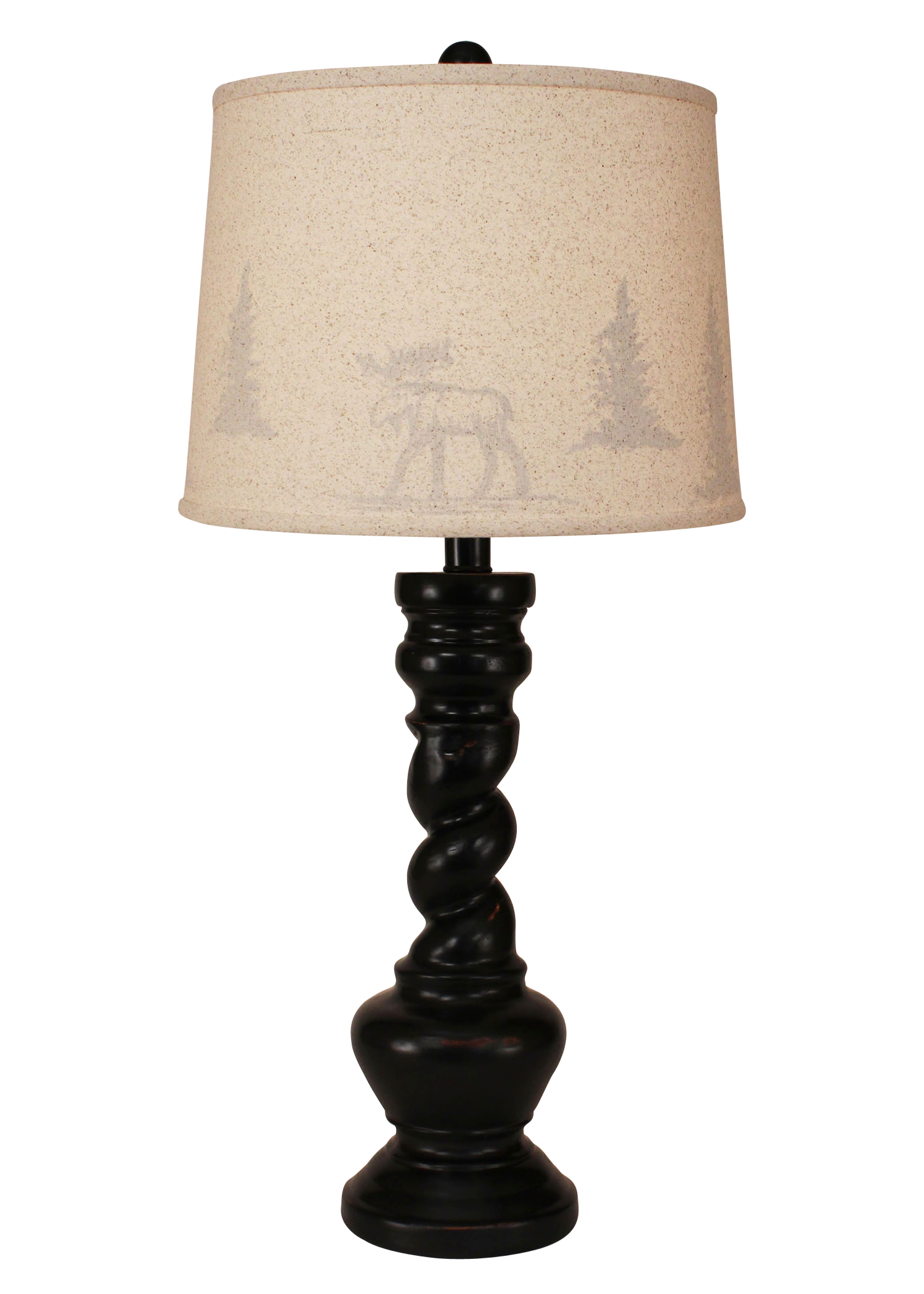 "Distressed Black ""B"" Pot with Twist- Moose and Tree Silhouette Shade - Coast Lamp Shop"
