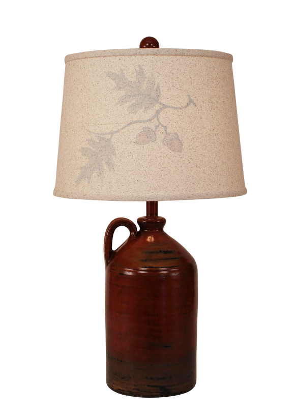 Autumn 1-Handle Pottery Jug- Silhouette Oak Branch Shade - Coast Lamp Shop