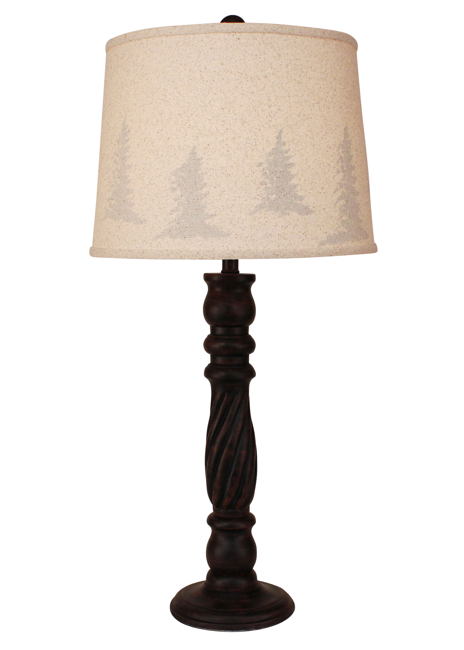 Burnt Sienna Swirl Table Lamp- Tree Silhouette Shade - Coast Lamp Shop