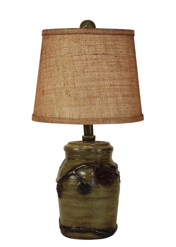 Forest Mini Pinecone Accent Lamp- Burlap Shade - Coast Lamp Shop