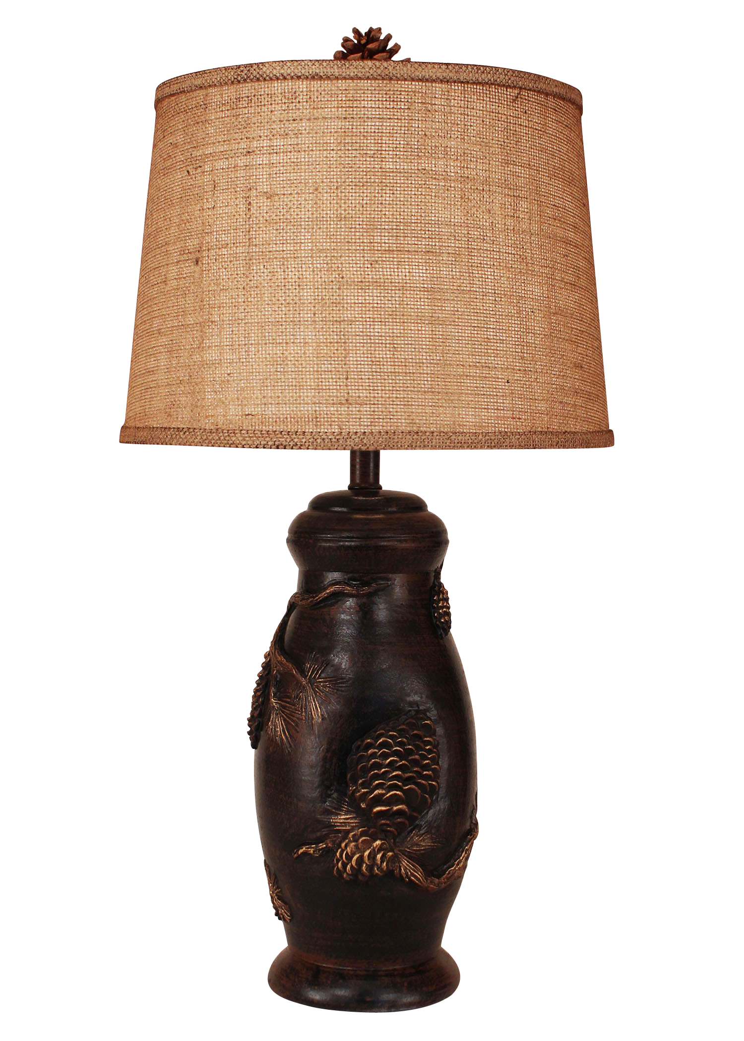 Burnt Sienna Pine Cone Table Lamp- Burlap Shade - Coast Lamp Shop