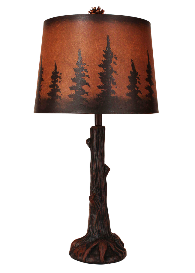 Rust Tree Trunk with Root Table Lamp