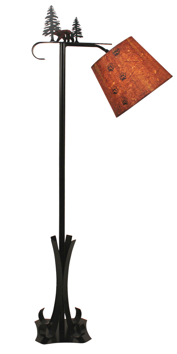 Outland Iron Bridge Floor Lamp with Bear & Pine Tree Accent-Bear Paw Shade - Coast Lamp Shop
