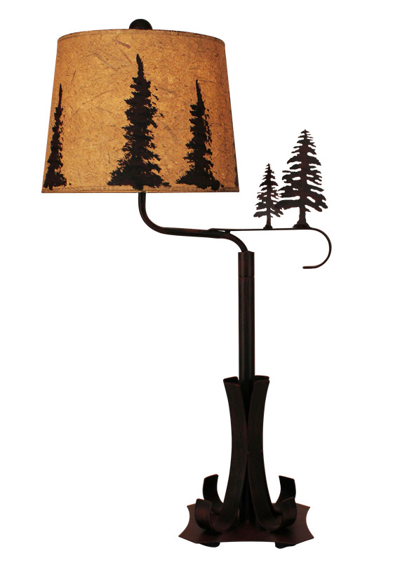 Burnt Sienna Iron Swing Arm Table Lamp with Pine Trees - Coast Lamp Shop