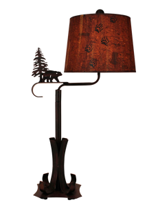Burnt Sienna Iron Swing Arm Table Lamp with Bear and Pine Tree Accent - Coast Lamp Shop