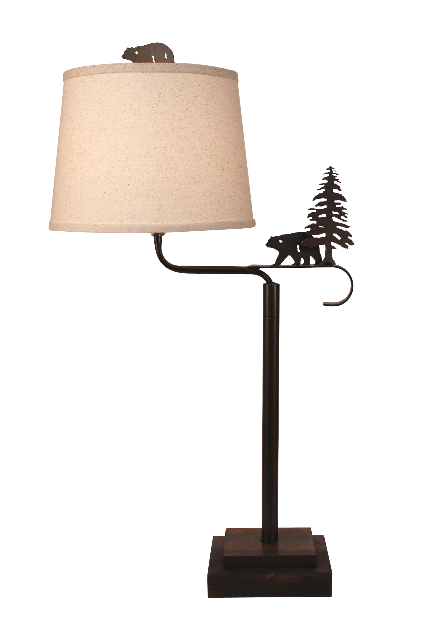 Dark Bronze Iron Swing Arm Table Lamp with Wooden Base- Bear and Pine Tree Accent - Coast Lamp Shop
