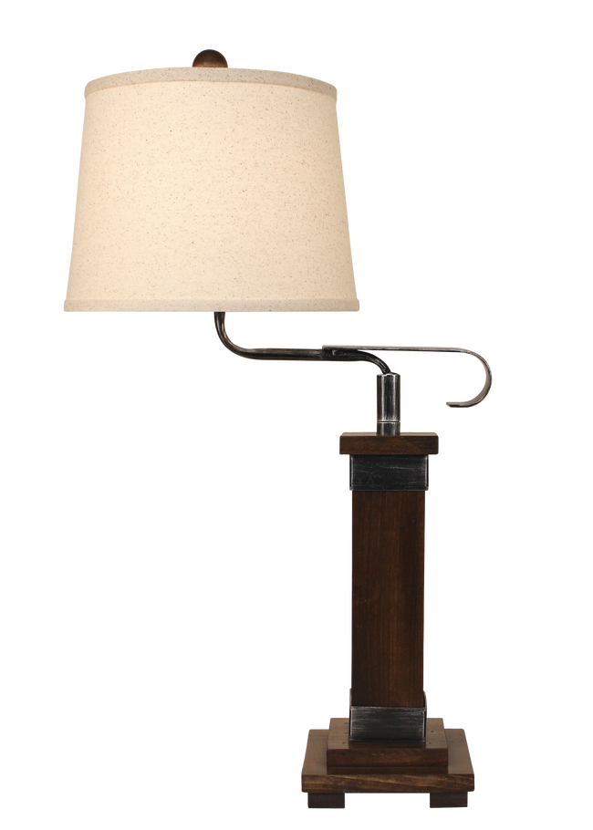 Dark Stain/Steel Mission Style Swing Arm Table Lamp - Coast Lamp Shop