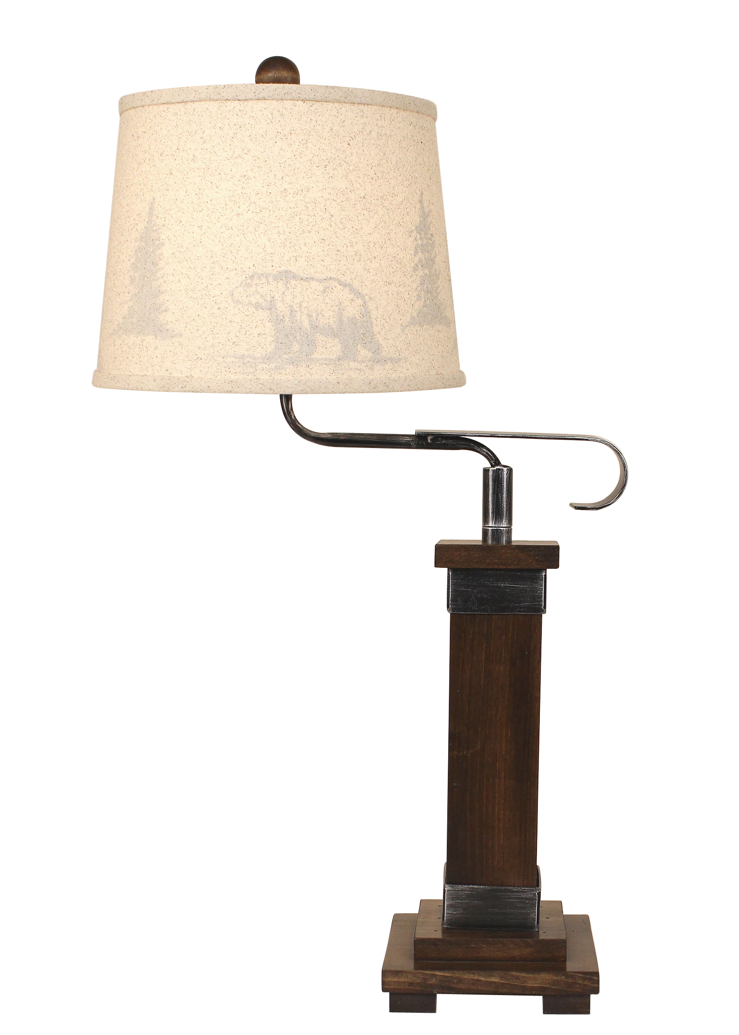 Dark Stain/Steel Mission Style Swing Arm Table Lamp- Bear and Tree Silhouette Shade - Coast Lamp Shop