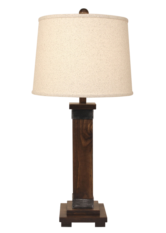 Dark Stain/Steel Mission Style Table Lamp - Coast Lamp Shop