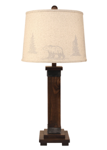 Dark Stain/Steel Mission Style Table Lamp-Tree Silhouette Shade - Coast Lamp Shop