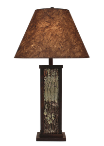Aspen Poplar Bark with Wood Accent Table Lamp-Woodchip Shade - Coast Lamp Shop