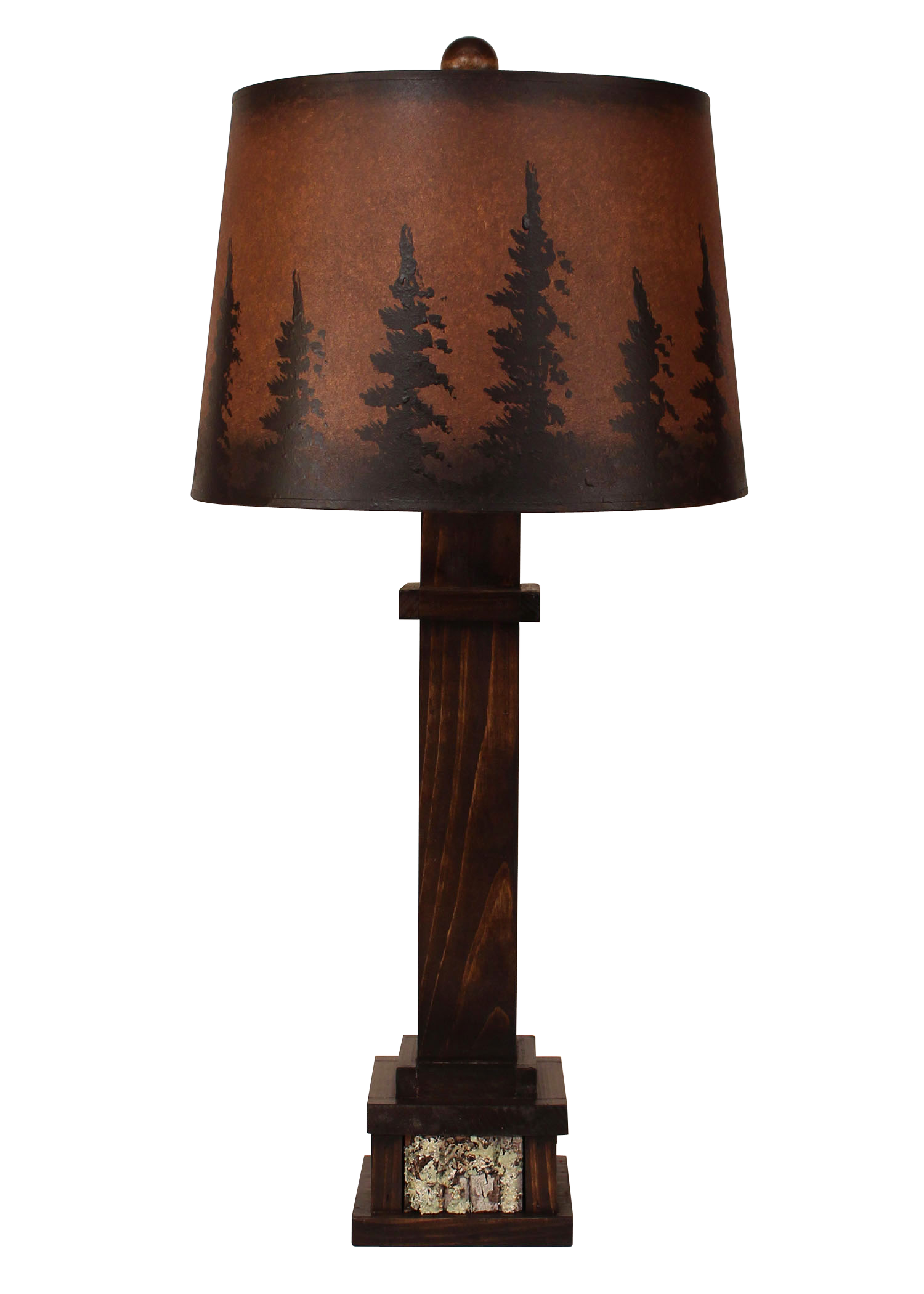 Aspen Square Wooden Table Lamp with Poplar Bark Accent- Pine Tree Grove Shade - Coast Lamp Shop