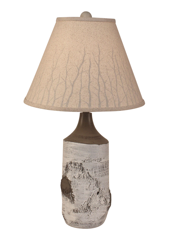 Birch Table Lamp with Branch Silhouette Shade - Coast Lamp Shop