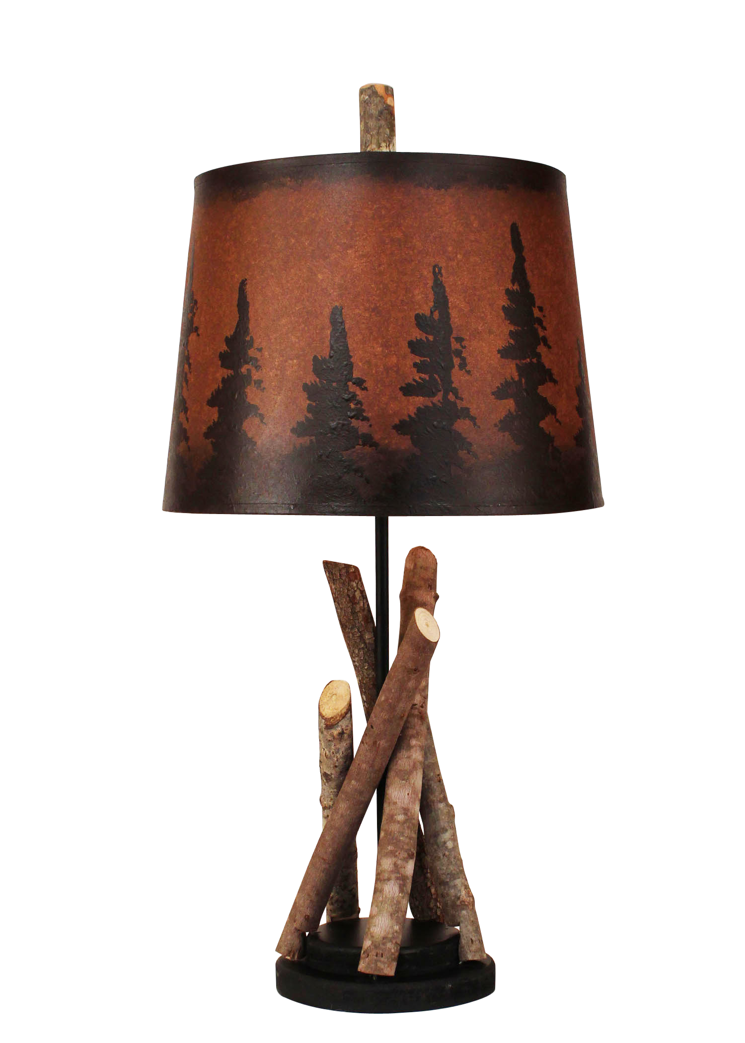 Black Stick Accent Lamp with Round Wooden Base- Pine Tree Grove Shade - Coast Lamp Shop