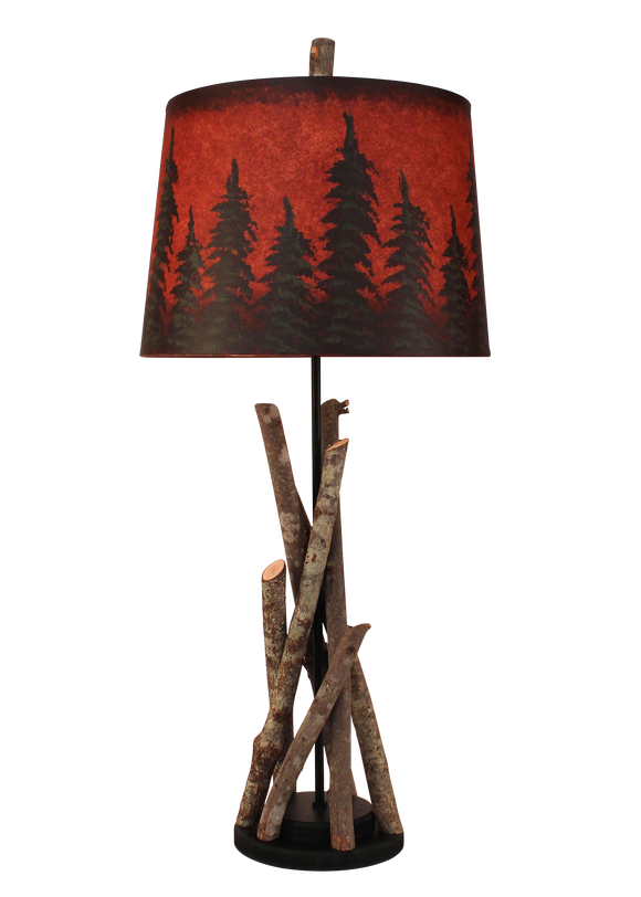 Black Stick Table Lamp with Round Wooden Base- Red Pine Tree Grove Shade - Coast Lamp Shop