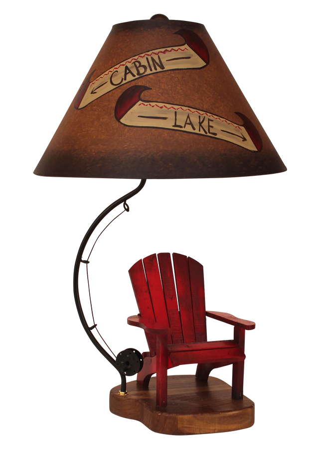 Brick Red Adirondack Chair with Fly Rod Accent- Cabin and Lake Shade - Coast Lamp Shop