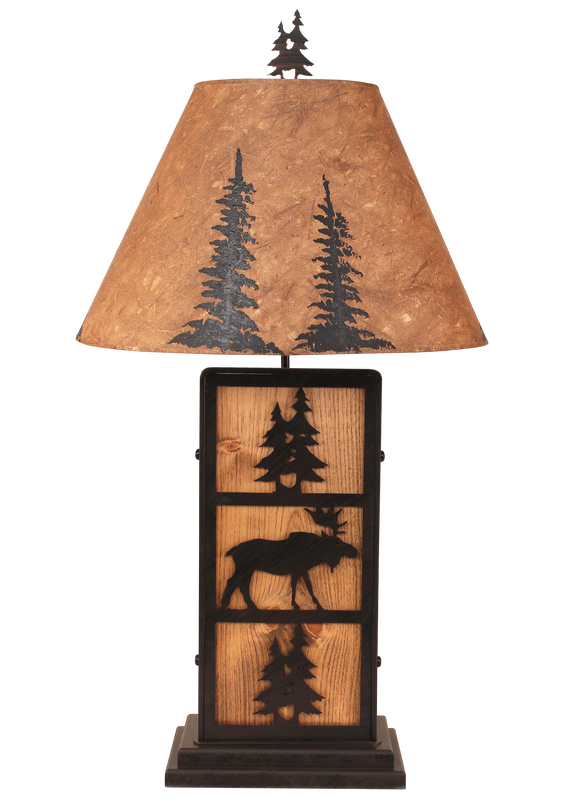 Kodiak Moose and Tree Iron/Wood Table Lamp- Pine Tree Shade - Coast Lamp Shop