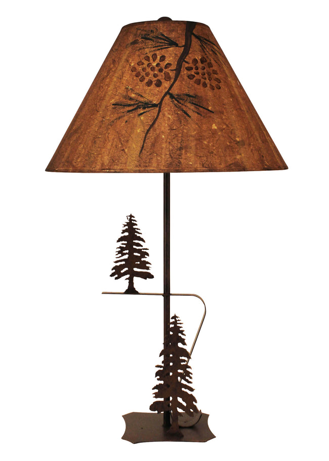 Rust Iron with Pine Trees Table Lamp