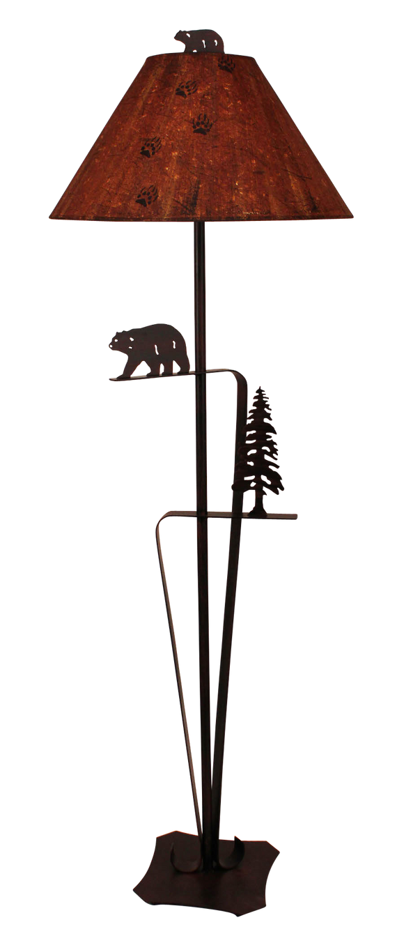 Burnt Sienna Iron With Walking Bear and Pine Tree Floor Lamp - Coast Lamp Shop