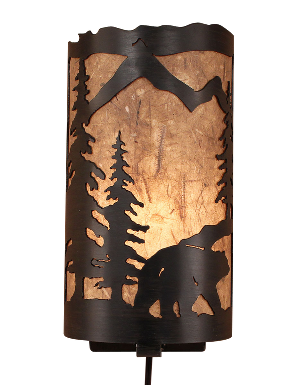 Kodiak Bear Scene Panel Sconce - Coast Lamp Shop