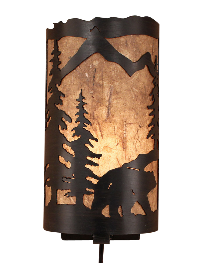 Kodiak Bear Scene Panel Sconce