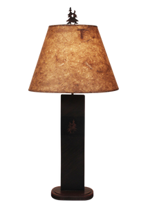 Burnt Sienna Double Pine Tree Panel Table Lamp - Coast Lamp Shop