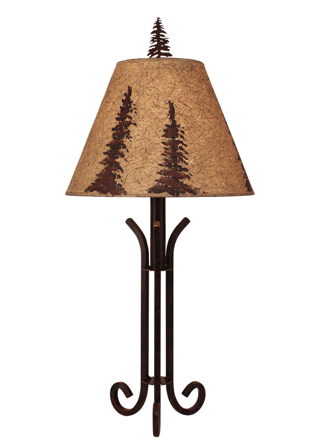 Rust Iron Accent Lamp with 3 Legs- Pine Tree Shade