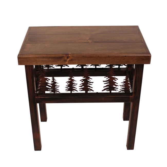 Rectangluar End Table with Bear/Feather Tree Accent