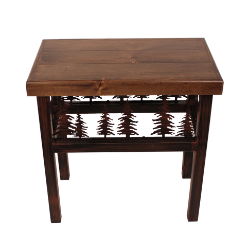 Rectangle End Table with Pine Cone Accent