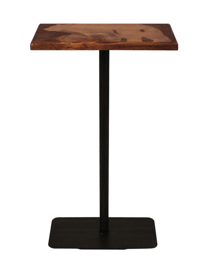 Wood Top Drink Table with Bear Accent