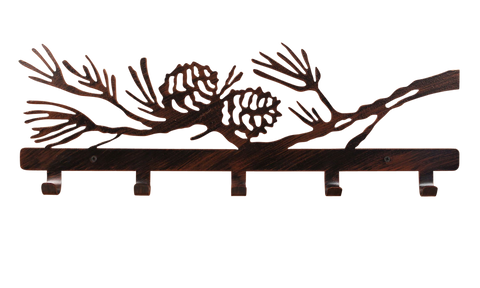 "Iron Bear and Tree Towel Bar with 6"" Shelf"