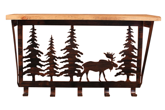 Iron Moose and Pine Trees Coat Rack with 6
