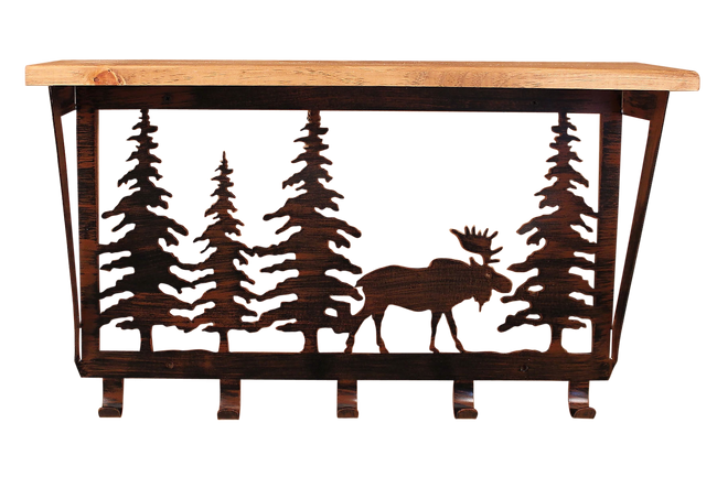 "Iron Moose and Pine Trees Coat Rack with 6"" Shelf"