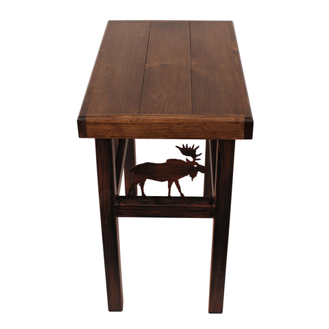 "24"" Wooden Elk Scene Bench"