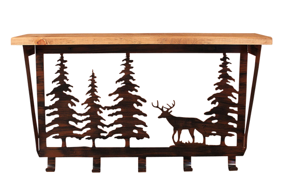 Iron Deer and Pine Trees Coat Rack with 6