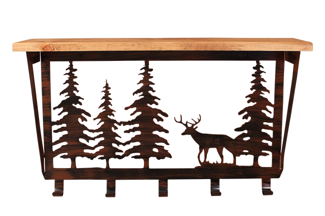 "Iron Deer and Pine Trees Coat Rack with 6"" Shelf"